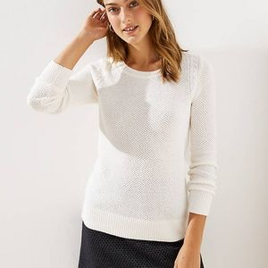 Loft Ivory Cable Knit Crew Sweater Size - M